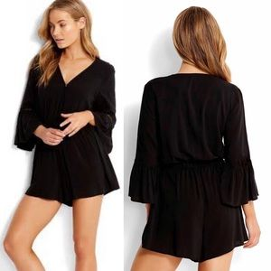 Seafolly Black Romantic Playsuit Romper Coverup